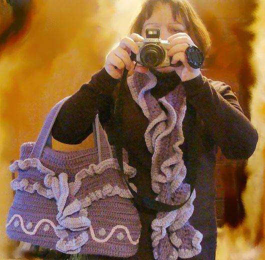 Женские сумки ручной работы. Ярмарка Мастеров - ручная работа. Купить Комплект сумка и шарф. Handmade. Вязанная сумка