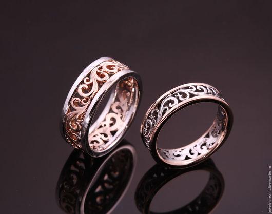 Обручальные кольца из красного и белого золота