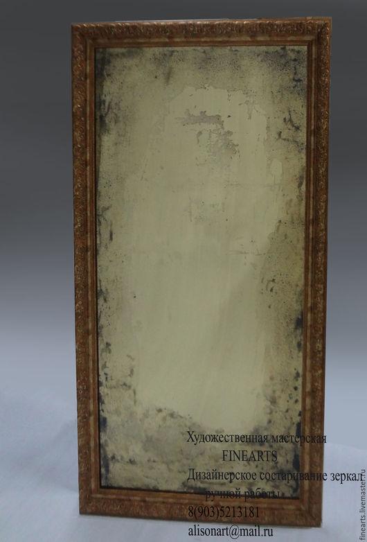 Зеркала ручной работы. Ярмарка Мастеров - ручная работа. Купить Золотое состаренное зеркало ручной работы. Handmade. Золотой, старение