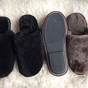 Обувь ручной работы handmade. Livemaster - original item Sheepskin Slippers with a closed Cape for men. Handmade.