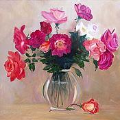 Картины и панно ручной работы. Ярмарка Мастеров - ручная работа Картина Розы в вазе оформлена. Handmade.