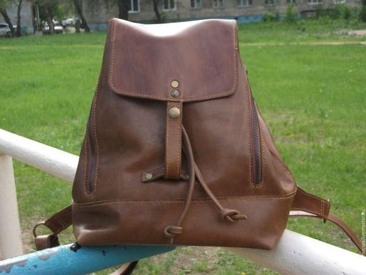 Рюкзаки ручной работы. Ярмарка Мастеров - ручная работа. Купить Рюкзак из кожи  коричневый, светлый. Handmade. Коричневый, натуральная кожа