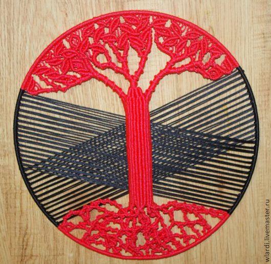 """Символизм ручной работы. Ярмарка Мастеров - ручная работа. Купить Панно Макраме """"Красное дерево"""". Handmade. Панно на стену"""