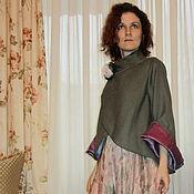 Одежда ручной работы. Ярмарка Мастеров - ручная работа Зеленый расклешенный жакет из тонкой шерсти. Handmade.