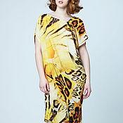 Одежда ручной работы. Ярмарка Мастеров - ручная работа Платье из штапеля леопардовое летнее с звериным принтом наискосок. Handmade.
