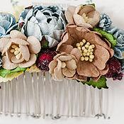 Свадебный салон ручной работы. Ярмарка Мастеров - ручная работа Свадебный гребень для волос, голубая заколка с цветами, украшение пион. Handmade.