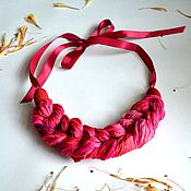 Украшения handmade. Livemaster - original item necklace kosa silk dyed manually boho necklace, textile jewelry. Handmade.