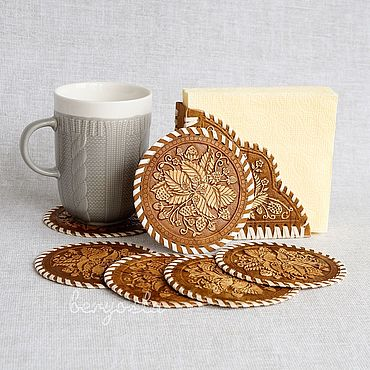 Для дома и интерьера ручной работы. Ярмарка Мастеров - ручная работа Набор салфетница + 6 подставок под кружку из бересты. Handmade.