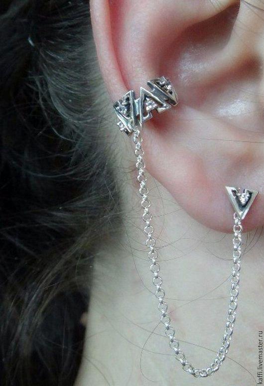 Кафф из серебра с фианитами и цепочкой + серьга-гвоздик с фианитом. По вашему желанию, можно сделать такой гвоздик и на другое ушко