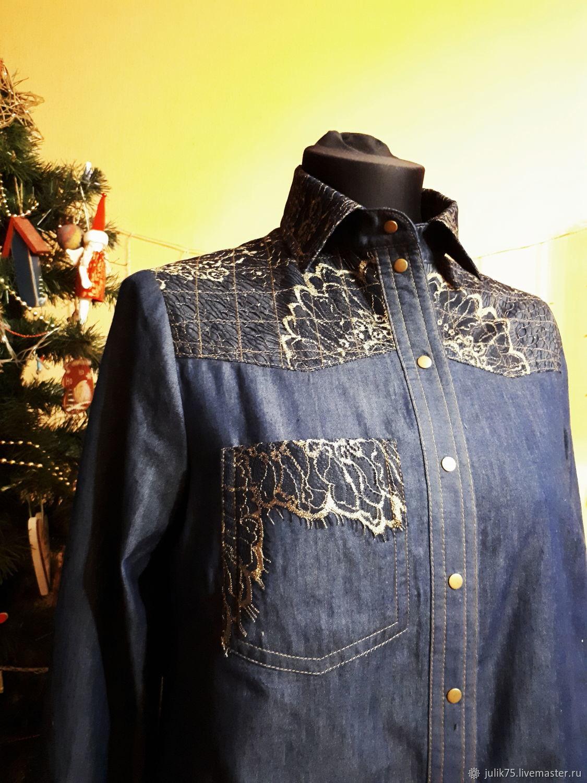 2f86222fc27 Блузки ручной работы. Джинсовая рубашка. by Kulchenko Julia.  Интернет-магазин Ярмарка Мастеров ...