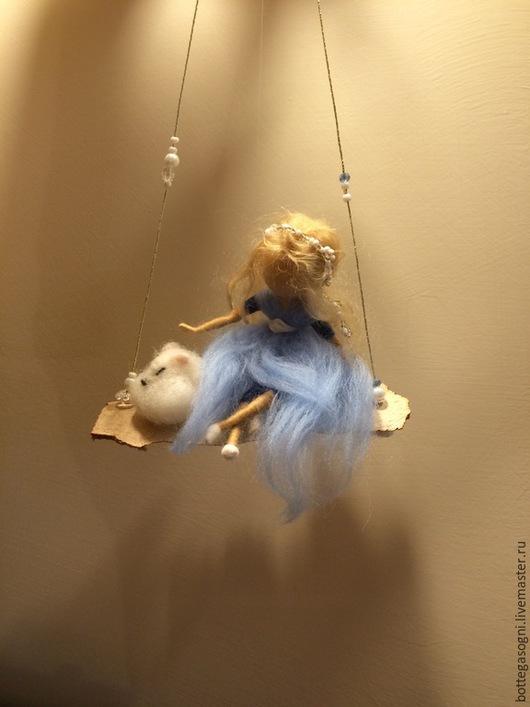 Коллекционные куклы ручной работы. Ярмарка Мастеров - ручная работа. Купить Валяние Фея с горностаем. Handmade. Голубой, домашний декор