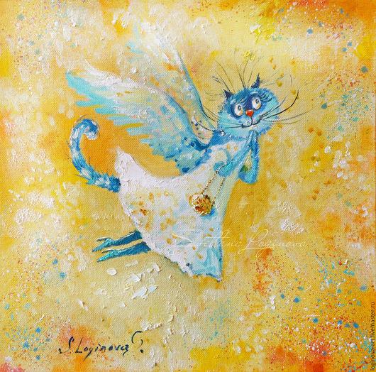 Животные ручной работы. Ярмарка Мастеров - ручная работа. Купить На крыльях Любви-левая часть, диптих, картина на холсте маслом. Handmade.