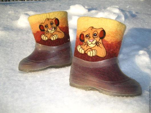 """Детская обувь ручной работы. Ярмарка Мастеров - ручная работа. Купить Детские валенки для улицы """"Симба"""". Handmade. Коричневый"""