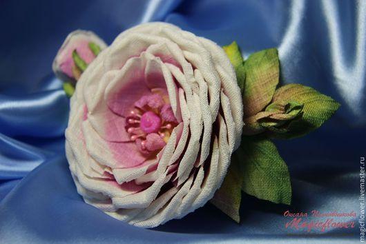 Броши ручной работы. Ярмарка Мастеров - ручная работа. Купить Брошь из ткани Роза на заре. Заколка. Цветы из ткани.. Handmade.