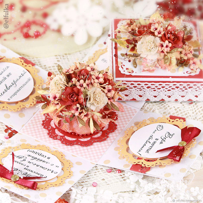 Открытка в виде коробочки с цветами (открытка для женщины), Открытки, Нарьян-Мар,  Фото №1