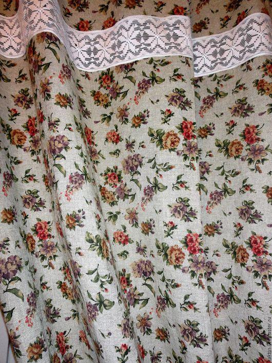 """Текстиль, ковры ручной работы. Ярмарка Мастеров - ручная работа. Купить Комплект для кухни """"Вальс цветов"""" (шторы + 1 скатерть+ наперон). Handmade."""
