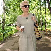 Платья ручной работы. Ярмарка Мастеров - ручная работа Льняное летнее платье Бохо натуральный. Handmade.