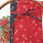 Материалы для творчества ручной работы. Ярмарка Мастеров - ручная работа Новогодняя  ткань снежинки синяя и красная. Handmade.