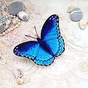 Украшения ручной работы. Ярмарка Мастеров - ручная работа Брошь бабочка Морфо Марина вышитая объемная. Handmade.