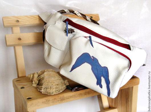 Женские сумки ручной работы. Ярмарка Мастеров - ручная работа. Купить Женская сумка белая Кожаная сумка кожа Море ЧайкаПоясная сумка на пояс. Handmade.