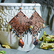 Earrings manualidades. Livemaster - hecho a mano Copper earrings Thistle boho earrings with ornament and stones green. Handmade.
