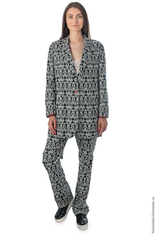 """Пиджаки, жакеты ручной работы. Ярмарка Мастеров - ручная работа. Купить Женский пиджак свободного кроя """"Абстрактный джинс"""". Handmade."""