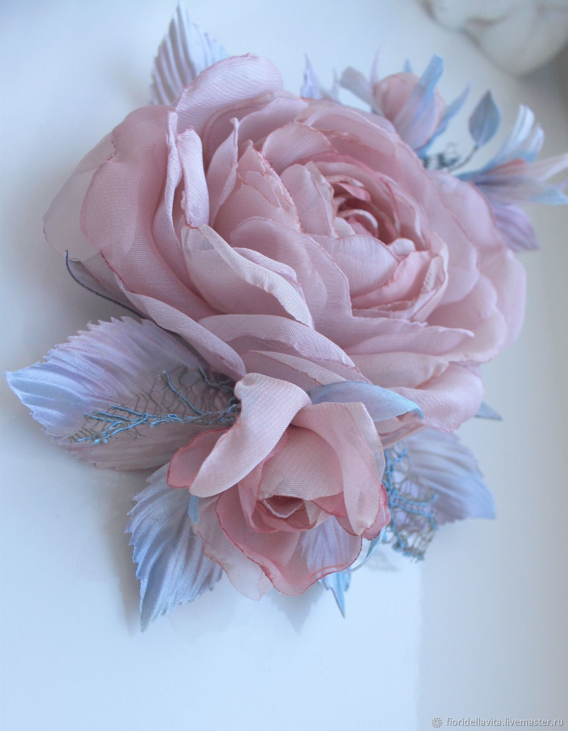 FABRIC FLOWERS. ' Sprig of roses ' Powder in gray and blue', Brooches, Vidnoye,  Фото №1