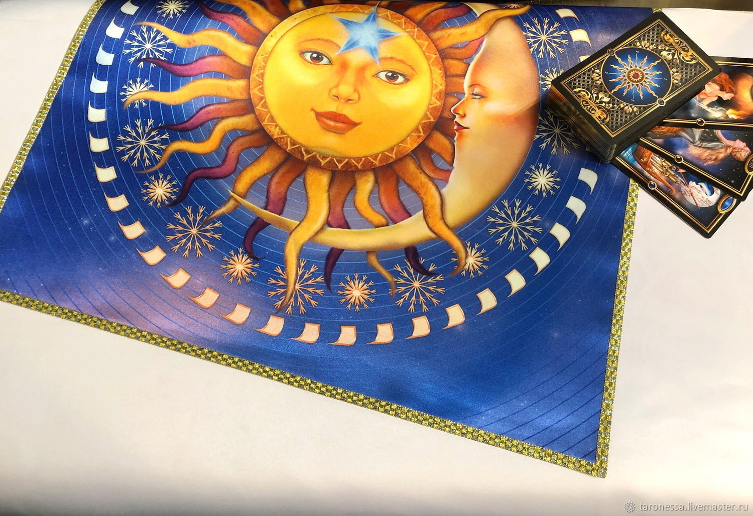 Table cloth for divination 52h51 cm.' Sun ' with print, Ritual tablecloth, Noginsk,  Фото №1