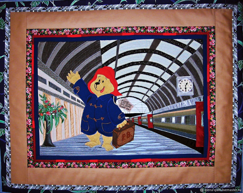 Лоскутное панно в детскую Мишка на вокзале, Панно, Москва,  Фото №1