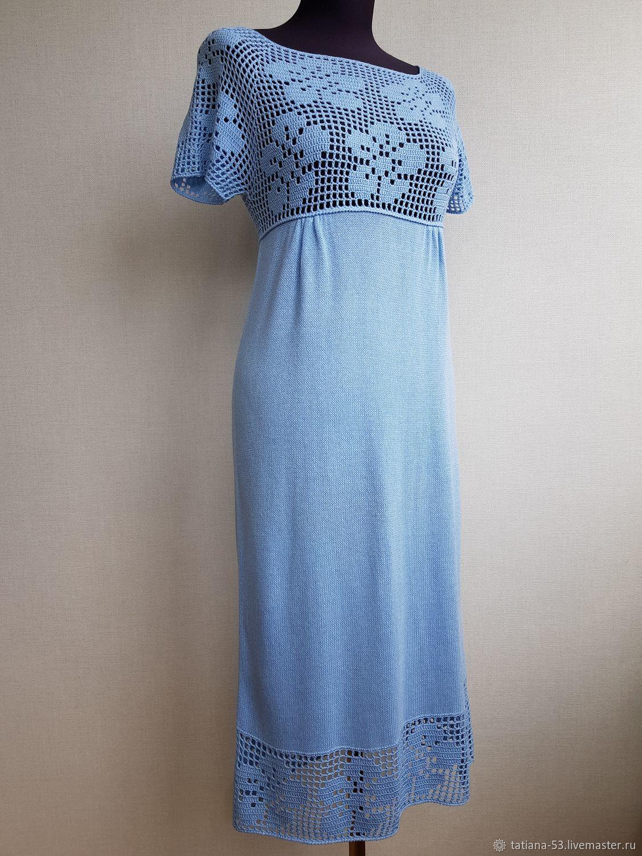 Небесно-голубое летнее платье в стиле ампир из нежного хлопка, Платья, Москва,  Фото №1