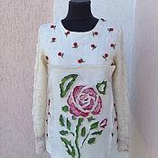 Одежда ручной работы. Ярмарка Мастеров - ручная работа свитерок валяно-вязаный  Махровая роза. Handmade.