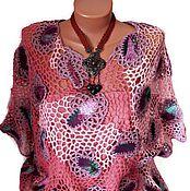 """Одежда ручной работы. Ярмарка Мастеров - ручная работа ирландское кружево,женский  розово сиреневый пуловер """"Яшма"""". Handmade."""