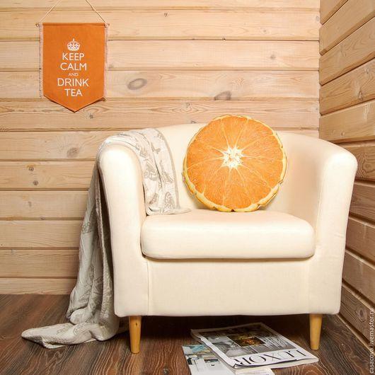 Текстиль, ковры ручной работы. Ярмарка Мастеров - ручная работа. Купить Скидка 30% Подушка Апельсин – льняная подушка в виде апельсина. Handmade.