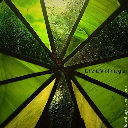Элементы интерьера ручной работы. Ярмарка Мастеров - ручная работа. Купить Витраж Тиффани на окно Лотос Египет. Handmade. Зеленый