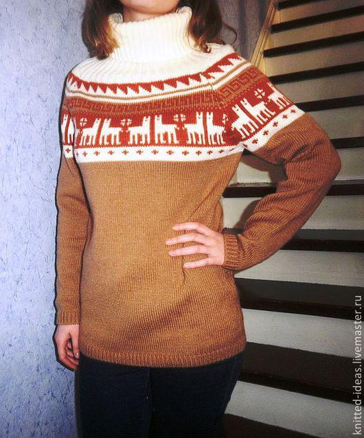 Кофты и свитера ручной работы. Ярмарка Мастеров - ручная работа. Купить Пуловер с круглой кокеткой с ламами. Handmade. Рыжий, орнамент