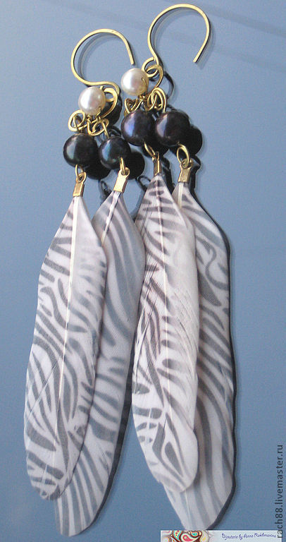 """Серьги ручной работы. Ярмарка Мастеров - ручная работа. Купить Серьги """"Полосатый рейс"""". Handmade. Чёрно-белый, серьги с принтом"""