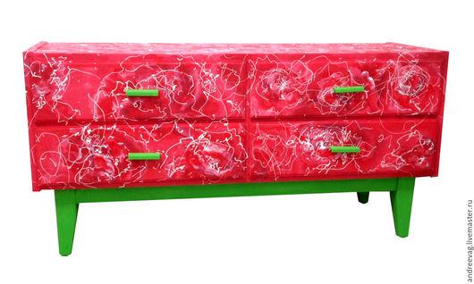 """Мебель ручной работы. Ярмарка Мастеров - ручная работа. Купить Комод """"Розовый куст"""".. Handmade. Ярко-красный, ручная роспись"""