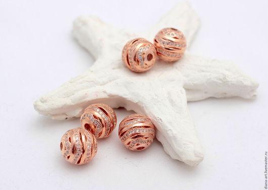 Для украшений ручной работы. Ярмарка Мастеров - ручная работа. Купить Бусины розовая позолота с цирконами. Handmade. Бусины