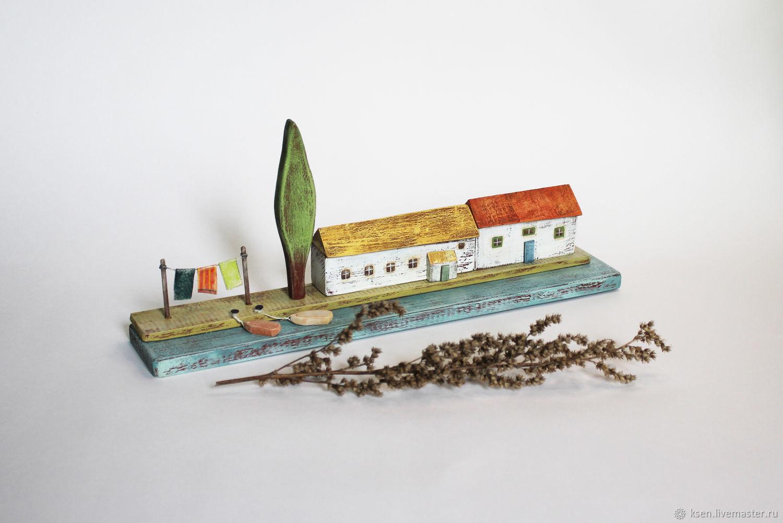 Миниатюра. Домики. Морская композиция. Деревенька у моря, Статуэтка, Москва,  Фото №1