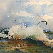 Картины и панно ручной работы. Ярмарка Мастеров - ручная работа Морской пейзаж После бури акварель. Handmade.