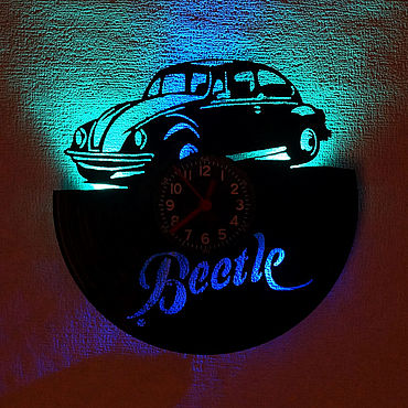 For home and interior handmade. Livemaster - original item Wall clock with led backlight from Beetle plate. Handmade.