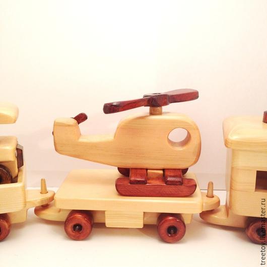 Техника ручной работы. Ярмарка Мастеров - ручная работа. Купить Вагон с вертолетиком. Handmade. Деревянная игрушка, игрушка в подарок, транспорт