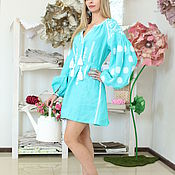 Одежда handmade. Livemaster - original item Turquoise tunic with white embroidery. Handmade.