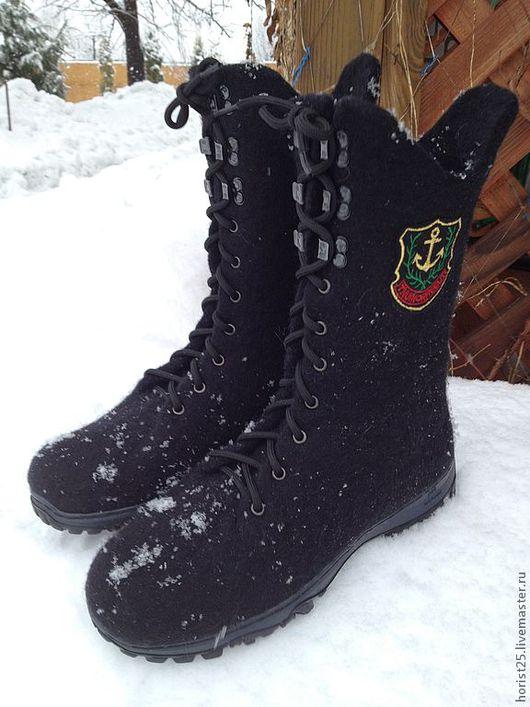 Обувь ручной работы. Ярмарка Мастеров - ручная работа. Купить Валяные мужские ботинки Military. Handmade. Черный, сапоги из войлока