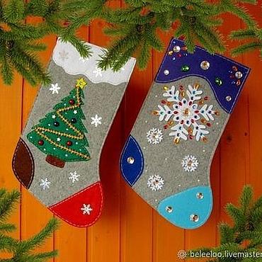 Подарки к праздникам ручной работы. Ярмарка Мастеров - ручная работа Большие носки для новогодних подарков. Handmade.