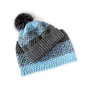 Работы для детей, ручной работы. Ярмарка Мастеров - ручная работа вязаная шапка и снуд детский, шапка с помпоном, серый голубой. Handmade.