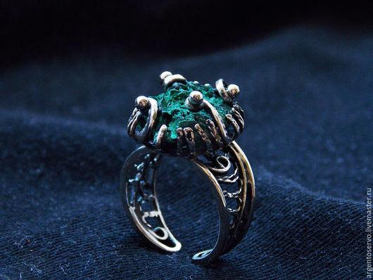 Кольца с малахитом `Африканская мечта*`  в серебре,выполненные в технике филигрань,черненное.