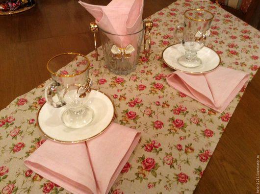 Комплект столового белья Розовый сад. Купить столовое белье ручной работы.