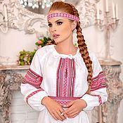 Русский стиль handmade. Livemaster - original item Slavic white shirt. Handmade.