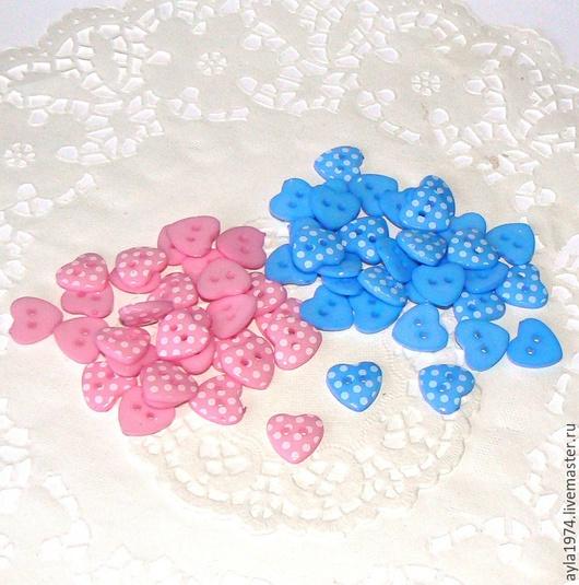 Шитье ручной работы. Ярмарка Мастеров - ручная работа. Купить Пуговка сердечко 15 мм,2 цвета. Handmade. Голубой